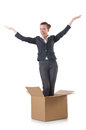 Woman with boxes on white Stock Photo