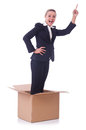 Woman with boxes on white Stock Photography