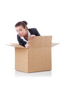 Woman with boxes on white Stock Images