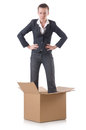 Woman with boxes on white Royalty Free Stock Photos