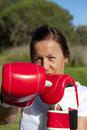 Woman with Boxing Gloves Royalty Free Stock Images