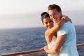 Woman boyfriend cruise joyful young women hugging her on a ship Stock Photo