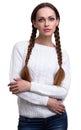 Woman braided hair Royalty Free Stock Photo