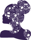 Woman bridal or fashion logo illustration of a ornate silhouette with openwork pattern decorated with flowers leaves curls Stock Photography