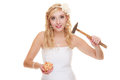 Woman bride with hammer about to smash piggy bank money saving marriage and high wedding cost concept funny isolated on white Stock Image