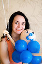Woman with bright blue ballon Royalty Free Stock Photo