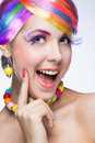 Woman with bright makeup beautiful Royalty Free Stock Images