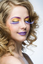 Woman with bright makeup beautiful Royalty Free Stock Image