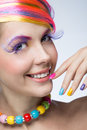 Woman with bright makeup beautiful Stock Images