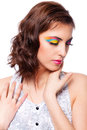 Woman with bright stylish make up portrait on white background Stock Photo