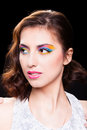 Woman with bright stylish make up portrait on white background Royalty Free Stock Photo
