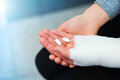 Woman with broken arm Royalty Free Stock Photo