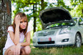 Woman with broken car Royalty Free Stock Photo