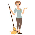 Woman with broom