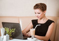 Woman browsing the Internet Royalty Free Stock Image
