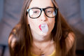Woman with bubble gum