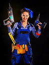 Woman builder with construction tools happy Stock Photography