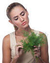 Woman with  bundle herbs (dill) Royalty Free Stock Photo
