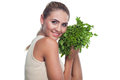 Woman with  bundle herbs (salat) Stock Images