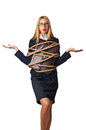 Woman businessman tied up Royalty Free Stock Photography