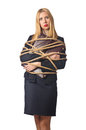 Woman businessman tied up Royalty Free Stock Photos