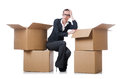 Woman businesswoman with boxes on white Stock Images