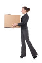 Woman businesswoman with boxes on white Royalty Free Stock Images