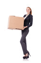 Woman businesswoman with boxes on white Stock Photo