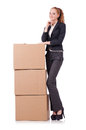 Woman businesswoman with boxes on white Royalty Free Stock Photo