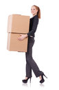 Woman businesswoman with boxes on white Royalty Free Stock Image