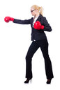Woman businesswoman with boxing gloves on white Royalty Free Stock Photography