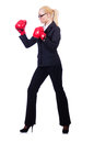 Woman businesswoman with boxing gloves on white Stock Photos
