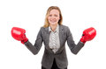 Woman businesswoman with boxing gloves on white Stock Images
