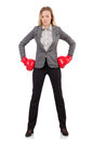 Woman businesswoman with boxing gloves on white Royalty Free Stock Photo