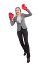 Woman businesswoman with boxing gloves on white Royalty Free Stock Images