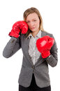 Woman businesswoman with boxing gloves on white Stock Photography