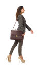 The woman businesswoman with briefcase isolated on Royalty Free Stock Photo