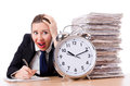Woman businesswoman giant alarm clock Stock Image