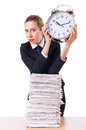 Woman businesswoman giant alarm clock Royalty Free Stock Photos