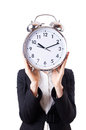 Woman businesswoman giant clock Stock Photo