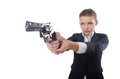 Woman businesswoman with gun on white Stock Photos