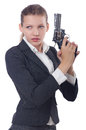 Woman businesswoman with gun on white Royalty Free Stock Photography