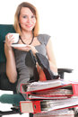 Woman businesswoman holding plenty documents white red folder time young relaxing legs up Royalty Free Stock Images