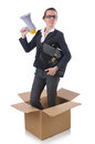 Woman businesswoman with loudspeaker inthe box Stock Photography