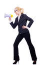 Woman businesswoman with loudspeaker on white Royalty Free Stock Photo
