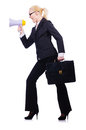 Woman businesswoman with loudspeaker on white Royalty Free Stock Photos