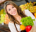 Woman buying groceries Royalty Free Stock Photos