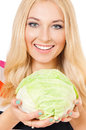 Woman with cabbage close up portrait of young beauty green fresh Royalty Free Stock Photo