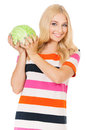 Woman with cabbage smiling holding green fresh isolated on white background Stock Photo