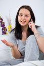 Woman calling by cell phone Royalty Free Stock Photo